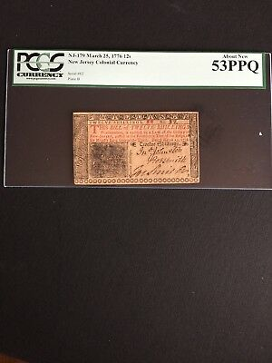 NJ-179 March 25,1776 12s PCGS 53PPQ NEW JERSEY COLONIAL CURRENCY AU.