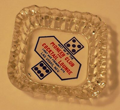 Vintage Pioneer Club And Cocktail Lounge Cut Glass Advertising Ashtray Las Vegas