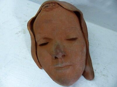 Very Beautiful Old Terracotta Lady Wall Mask - Signed - Very Rare - L@@k