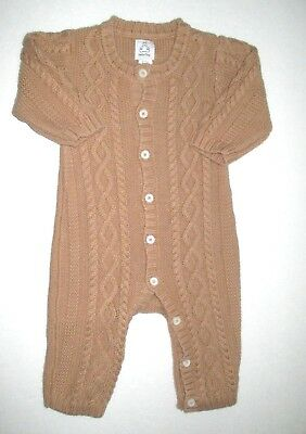 Infant Boys Baby Gap Camel Beige Cable Knit Sweater Longall Outfit Size 3-6 Mon