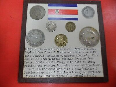 (7) World Coins of the Costa Rica 1 Real/1 Colon SIlver nice coins