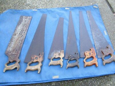 Lot Of 6 Vintage Hand Saws Most Disston