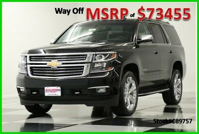 2018 Chevrolet Tahoe MSRP$73455 4X4 Premier  DVD Sunroof GPS Black 4WD New Navigation Heated Cooled Leather Camera Captains Chrome Rims 17 2017 18 Bose