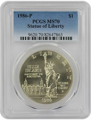 1986-P Statue of Liberty Silver Commemorative Dollar MS70 PCGS Mint State 70