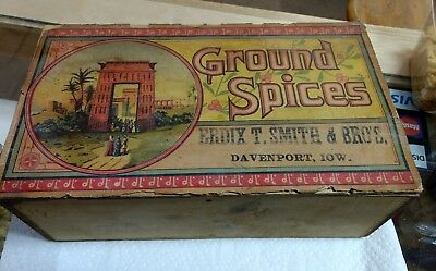 Antique Wood Ground Spices Dove Tailed Box Erdix T Smith & Bros Davenport Iowa