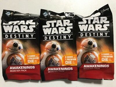 (3) Star Wars Destiny CCG Sealed Booster Pack Lot (x3) AWAKENINGS Card Game