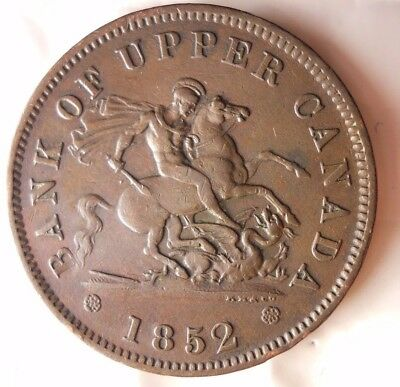 1852 CANADA (UPPER) PENNY - AU - Incredible Coin - HUGE VALUE - Lot D12