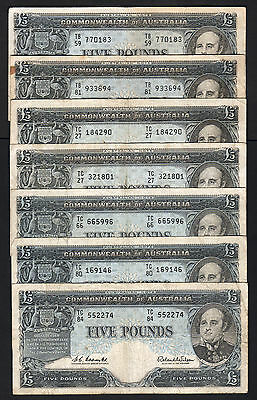 Australia R-50. (1960) Five Pounds . Coombs/Wilson -  Reserve Bank x 7 Notes