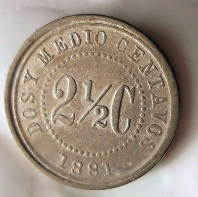 1881 COLOMBIA 2 1/2 CENTAVOS - Rare Low Mintage Coin - Lot #D12