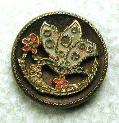 """Antique Brass Button Butterfly & Flowers w/ painted Accents - 9/16"""""""