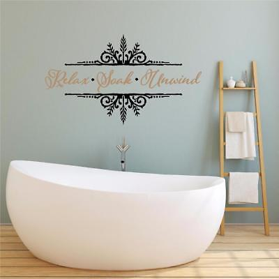 BATHROOM WALL STICKER RELAX UNWIND WORDS HOME WALL ART QUOTE X56