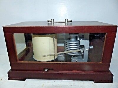 Good Quality Old German Barograph In Wooden Case - Rare - L@@k