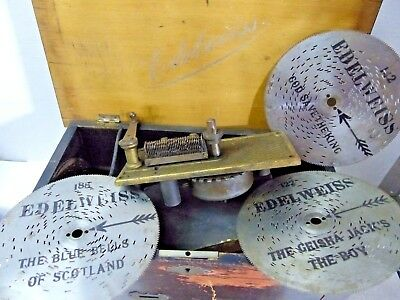 Very Old Music Box For Restoration - Edelweiss Polyphon Interest - Very Rare