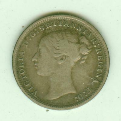 British Silver 1870 3 Pence-Lot D3