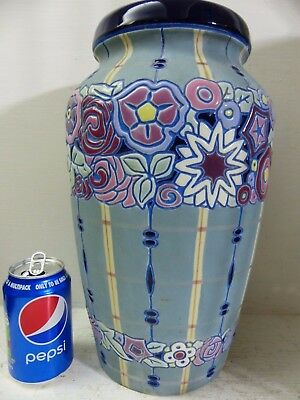 Very Beautiful Old Amphora Vase - Colourful Art Deco Design - Very Rare - L@@k