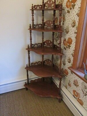 Vintage Victorian Corner What Not Shelf-Dark Wood-Spindle Structure