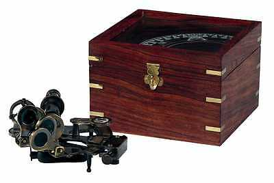 Reproduction of Antique Sextant in Wooden Box