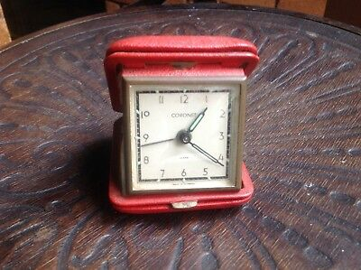 Vintage wind up travel clock Coronet made in Germany keeps good time