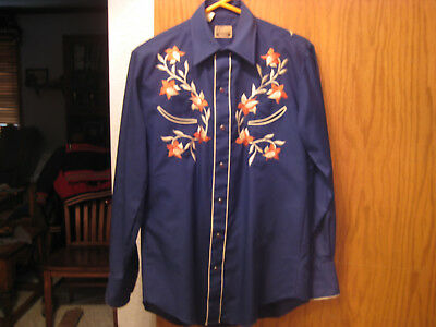 Vintage 1960s Rockabilly Western Style Shirt Ruby Red Snaps, Never Worn! Flowers