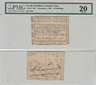 12/1768 40 Shillings North Carolina Note Colonial F-NC-132  PMG Very Fine-20