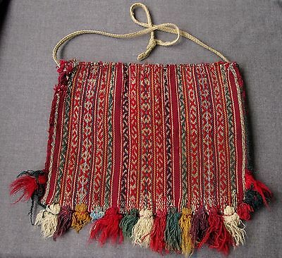 Antique Late 1800 Hand Woven Wool Aymara Bolivian Indian Coca Leaf Pouch Chuspa