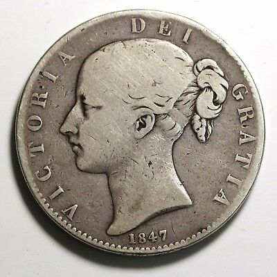 1847 UK Great Britain Sterling Silver Crown KM# 741 RARE  Low Mintage : 141,000