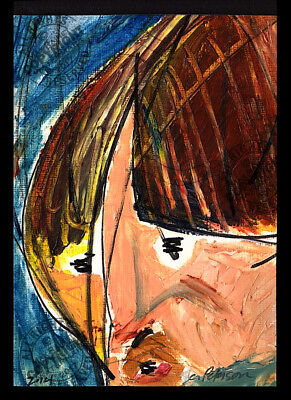 """Poor Richard the Boy"" 2014 ORIGINAL ACEO miniature Abstract OIL PAINTING Signed"