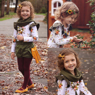 1-6T Toddler Girl Kids Floral Outfits 2PCS T-shirt Tops Long Pants Clothing Set