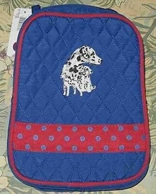 Q lunch DALMATIAN Quilted BLUE/RED Insulated Fabric Lunch Sack Tote Bag