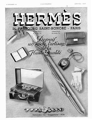 Original advertising ad from 1935 for HERMES watch gloves bag
