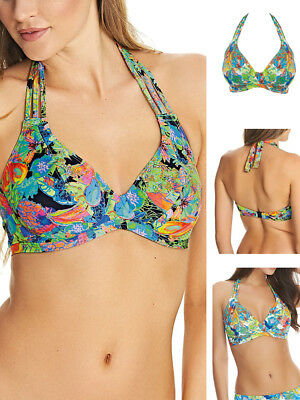 83549bdef3 Freya Island Girl Halter Banded Bikini Top 2980 Underwired Black Multi  Tropical