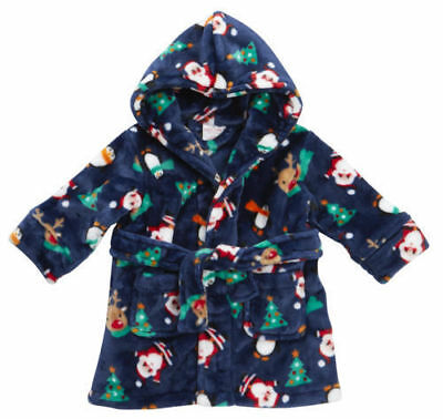 Baby Town Christmas gift  boys girls navy dressing gown robe 6-12 months BNWT