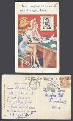 Mike Comic 1948 Old Postcard How I long for the touch of your lips again, Dear..