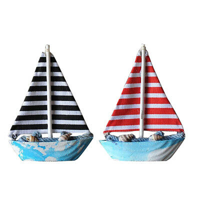 2Pcs Handcrafted Wooden Nautical Sailing Ornament Home Office Desktop Decor