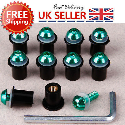 10X 5mm Motorcycle Windscreen Windshield Fairing Well nut Bolt Screw Green