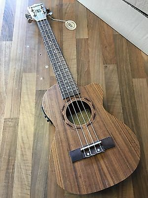 £180 Electro Acoustic Tenor Ukulele in Ovankol w/ tuner preamp + Fitted Gig Bag