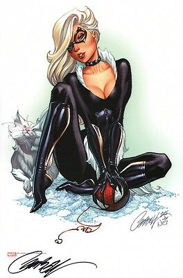 J Scott Campbell Signed Spiderman Marvel Comic Art Print ~ Black Cat