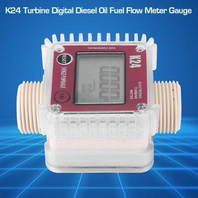 K24 Turbine LCD Diesel Oil Fuel Flow Meter Gauge For Chemicals Liquid Water gbd