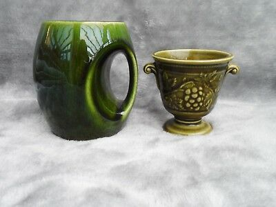 2 x pieces of HOLKHAM Pottery England 'Owl Eye' mug and small grapes vase urn