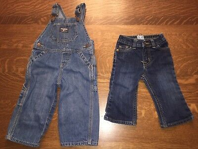 Lot Of 2 Boy 12 Month Jeans & Overalls Oshkosh Children's Place TCP