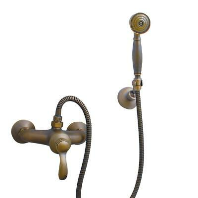 Wall Mounted Hand Held Shower Tap Faucet Set Antique Brass Bath Hotel Spa