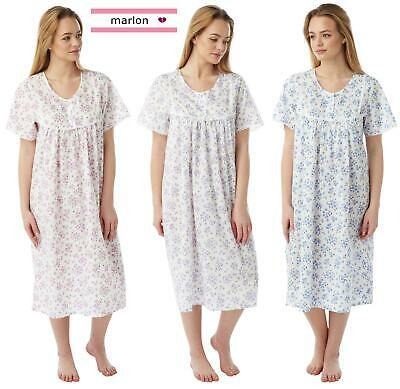 Womens Marlon Poly Cotton Short Sleeve Nightdress Nightie MN11 Size 10-30