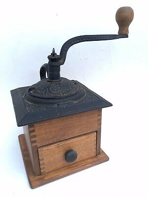 Vintage Cast Iron ~ Wood Coffee Bean Grinder Mill ~ Nice Working Condition