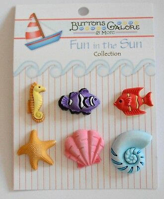 Buttons Galore FN-102 Fun in The Sun Exotic Fish Buttons