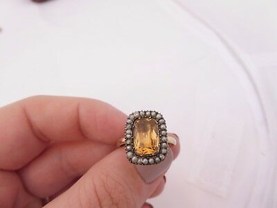 Fine georgian old cut folied back paste stone natural seed pearl 18ct gold ring