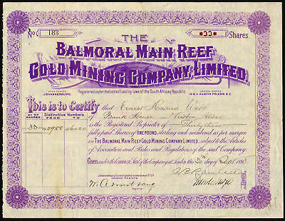 South Africa: Balmoral Main Reef Gold Mining Co. Ltd., £1 shares, 1898