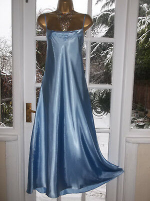 Vintage Style Debenham Glossy Satin Embroidered Slip Nightie Gown UK20 Tall Girl
