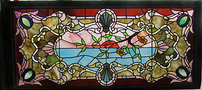 Extraordinary Antique Stained Glass Window ~ 64 X 29 ~ Architectural Salvage ~