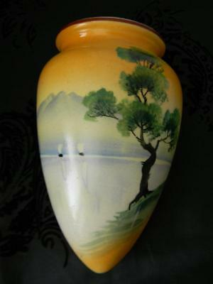 OMG!~1930's Wall Urn Vase~Hand Painted Lake Scene~Trico Nagoya Japan~Signed