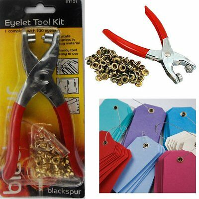 New! Eyelet Pliers Hole Punch Tool Kit With 100 Brass Eyelet Crafts Blackspur
